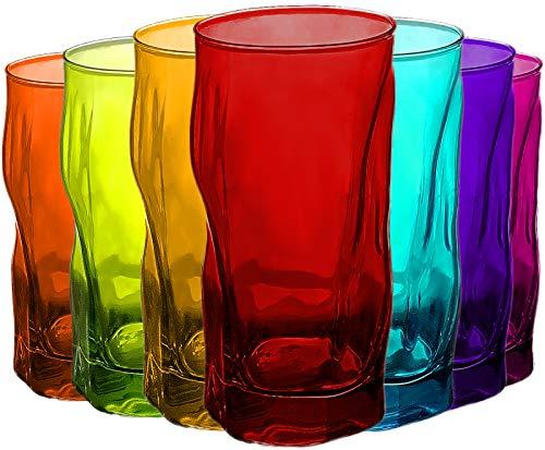 Trinkgläser | farbig | 7 teiliges Set | 460ml | bunt | Glas | 15,5 x 7,5 x 7,5 cm | Außergewöhnliche Gläser - geknitterte Design - Ideal für Cocktails , Bier oder Softdrinks (7 x farbige Gläser 460ml) Farbige Gläser