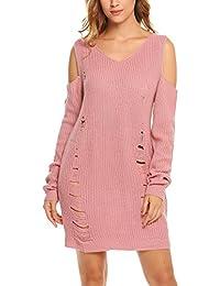 ef3966aaecc728 Zeela Damen Winter Lässige V Ausschnitt Strickkleid Lose Pullover Kleid  Sweatshirt Tunika Top Pulli Midikleid Sweater