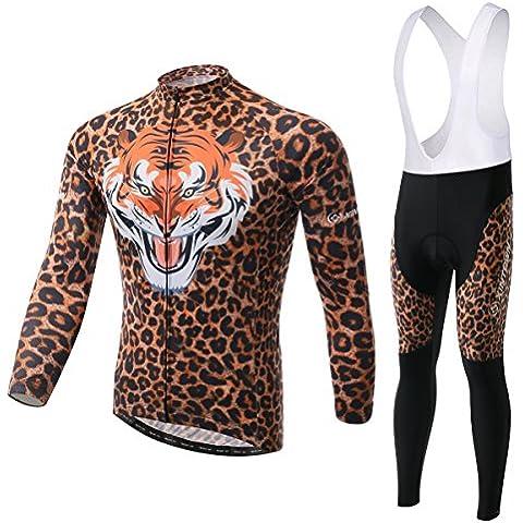 Tiger modello ciclismo maglia manica lunga 3D imbottito Bib Pants Set maschile, inverno all'aperto caldo pile abbigliamento sportivo , xl
