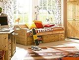 SAM Holzbett 90 x 200 cm Melanie, Kiefer massiv, Natur/lackiert, Kojenbett mit Unterbau, 5 Schubladen + 2 Fächer