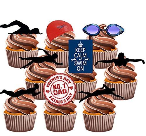 Vater 's Day Schwimmen Themed Kuchen Dekorationen, essbar Stand-up Cup Cake Topper (Pack von 12) (Schneiden Ein Schwimmen Sie Stück)