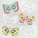 Masken zum Basteln und Ausmalen - Schmetterling - für Kinder ideal zum Kindergeburtstag und Karneval - 6 Stück