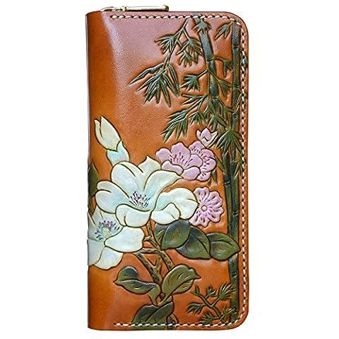 OLG.YAT® Pflanzlich gegerbtes Leder Geldbörse Portemonnaie Börse Brieftasche Handgefertigt Retro 20.5*10.5*4cm OLG-20HZPD2