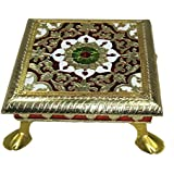 Purpledip Small Wooden Stand Stool Chowki with Exquisite Meenakari Painting for Placing Statues, Idols, 9.5x9.5 inch (10905)