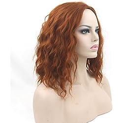 Fouriding Peluca Negra Corta Rizado Mujer Pelucas de Pelo Corto Ondulado Cosplay Wig