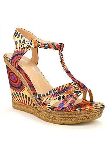 Cendriyon, Compensées Multicolores PAINTS MODA Chaussures Femme Multicolore