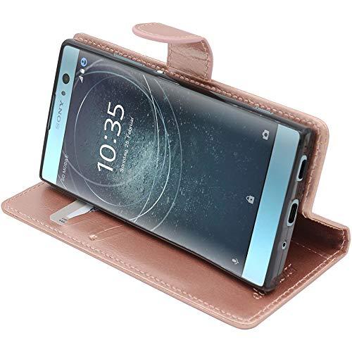 ebeststar - cover compatibile con sony xperia xa2, xa2 dual (2018) custodia portafoglio pelle pu protezione libro flip, rosa dorato [apparecchio: 142 x 70 x 9.7mm, 5.2'']