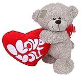 Wagner 9045 - Teddy-Bär mit rotem Herz 30 cm groß in grau - Teddybär Kuschelbär Plüschbär - Herz mit'I love you' Schriftzug