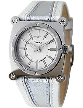 Moog Paris Fashion Damen / Herren Uhr mit Weiß Zifferblatt, Swarovski Elements & Weiß und Silber Armband aus Echtem...
