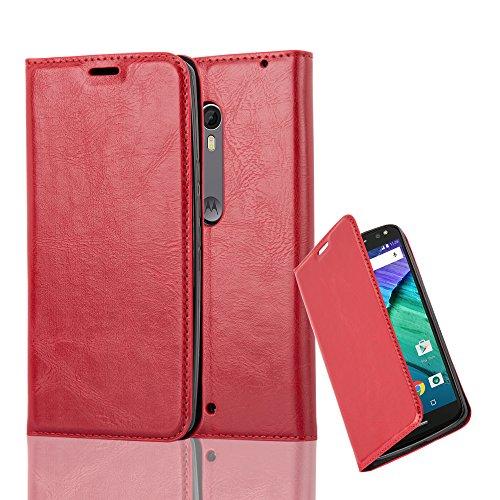 Cadorabo Hülle für Motorola Moto X Style - Hülle in Apfel ROT – Handyhülle mit Magnetverschluss, Standfunktion und Kartenfach - Case Cover Schutzhülle Etui Tasche Book Klapp Style