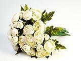 artplants - Künstlicher Ranunkelstrauß mit 18 Blüten, creme-gelb, 30cm, Ø 25cm - Blumenstrauß künstlich