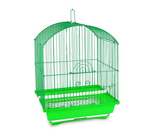 189078 Gabbia per uccelli 43.5X28.5X22cm di piccole dimensioni mangiatoie incluse. MEDIA WAVE store (Verde)