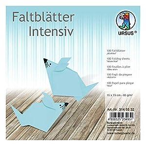 Ursus 3145532 - Hojas Plegables (100 Unidades, 65 g/m², 15 x 15 cm, para Artistas de Origami, teñidas), Color Azul