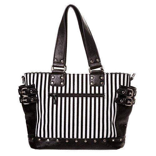 Banned Gothic Damen Handtasche - Schultertasche Handschellen, Nieten und Schnallen Schwarz/Weiß