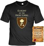 Griller T-Shirt Knight of the Holy Grill Shirt Geburtstag Geschenk geil bedruckt mit Grillmeister Urkunde