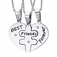 PICCOLI MONELLI Little Monkeys Best Friends Forever Necklace for 3 Heart Puzzle Him and Her for Fashionable Friends with Elegant Velvet Case