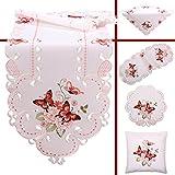 Quinnyshop Rosa Schmetterlinge Stickerei Frühling Tischdecke Mitteldecke ca. 85 x 85 cm Polyester, Weiß