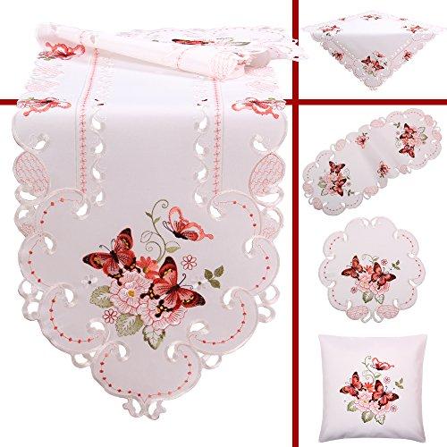 Quinnyshop Rosa Schmetterlinge Stickerei Frühling Tischdecke Deckchen ca. 30 cm Rund Polyester, Weiß (Deckchen Für Kommoden)