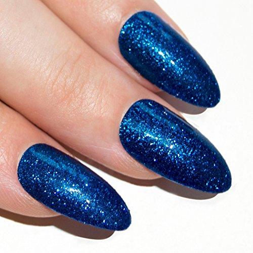 Bling Art Stilett Falsche Nägel Gel Acryl blau Gel Glitter Mittel Tipps (Blau Gefälschte Nägel)