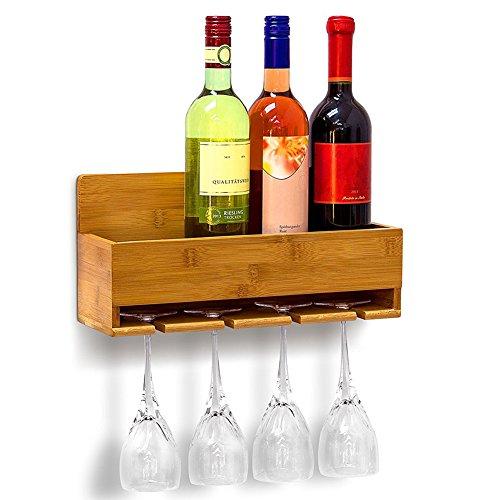 Bakaji scaffale mensola portabottiglie vino da parete muro in legno bambu 4 posti bottiglia con base supporto con 4 porta bicchieri calici dimensione 37 x 17 x 11,5 cm colore bamboo naturale