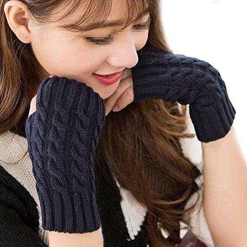 Stofirst Winter Warme geflochten Stricken Fingerlose Handschuhe Fäustling Handwärmer Wrist Warmers für Damen Frauen Mädchen (Stricken Handschuhe Fingerlose)