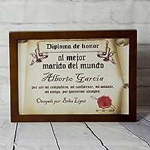Regalo personalizable para tu esposo: diploma pergamino 'al mejor marido del mundo' personalizado con su nombre, dedicatoria, firma y fecha