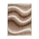 ayshaggy Teppich Shaggy-Design Hochflor Langflor mit Wellen-Muster für Wohnzimmer/Schlafzimmer in Beige, Braun, Creme, Größe: 80 x 150 cm