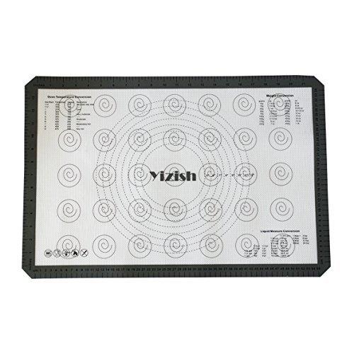Yizish Silikon Backmatten, Full Sheet Liner Antihaft, Rutschfeste Kochen Matte, Rolling Knetmatten mit Küche Umrechnungstabelle, Dicke 0,07cm, Große Größe (23,62