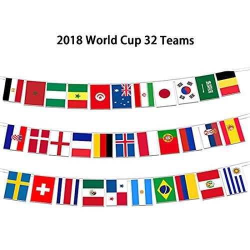 (GZQ World Cup Flaggen 2018Set von 32Land Flagge Wimpelkette für Bar Party Fans Sport Vereine Garden Banner Dekorationen 27,9x 20,3cm)