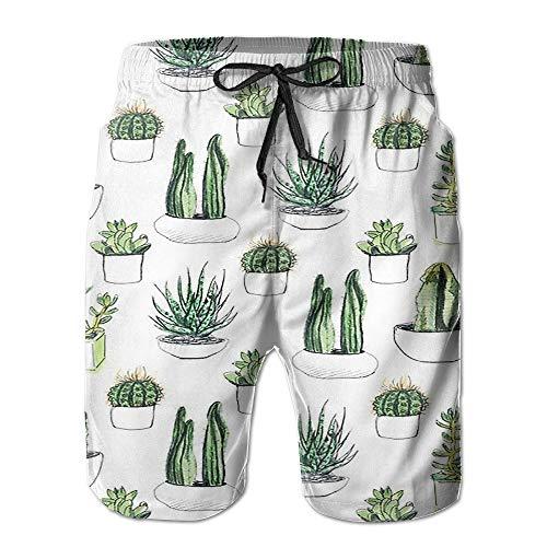 sexy world Wdfhl Cute Cactus Men's Summer Summer Beach Pants Quick Dry Swim Trunks Medium