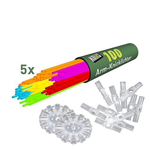 500 Knicklichter KNIXS | 6 Farb-Mix | inkl. 500 x 3D-Verbinder und 10 x Ballverbinder, seit 10 Jahren in Profiqualität, deutsche Testnote: 1,6