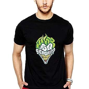 iLyk Men's Why so serious ? Printed T-Shirt (11037_Black_X-Large)