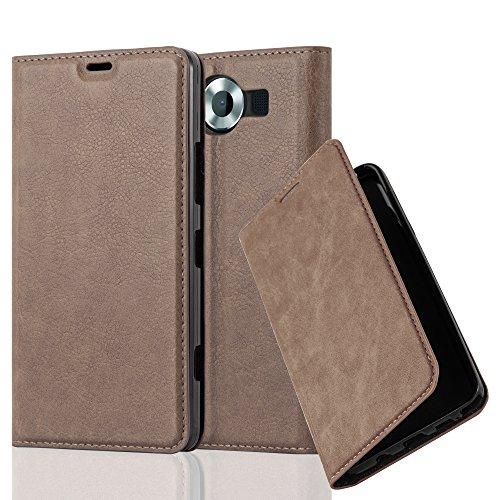 Cadorabo Hülle für Nokia Lumia 950 - Hülle in Kaffee BRAUN – Handyhülle mit Magnetverschluss, Standfunktion und Kartenfach - Case Cover Schutzhülle Etui Tasche Book Klapp Style