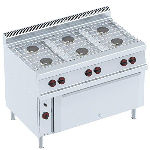 Macfrin 35922 Cocina a Gas de 6 Fuegos y Horno 37 Kw