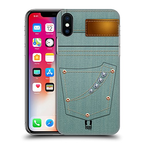 Head Case Designs Stiloso Uomo Tasche Jeans Cover Retro Rigida per Apple iPhone X Turchese Donna