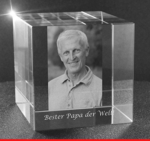VIP-LASER 2D GRAVUR Glas Kristall Würfel mit dem Foto Deines Vaters / Papa. Dein Wunschfoto für die Ewigkeit mitten in Glas! Groesse XL = 60x60x60mm - Glas-cube-bild