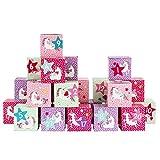 DIY Adventskalender Kisten Set - Motiv Einhorn - 24 bunte Schachteln zum Aufstellen und zum Befüllen - 24 Boxen - von Papierdrachen
