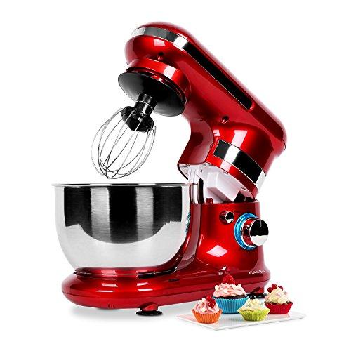 Klarstein Serena - Robot de cocina, amasador, mezclador, 600W, cuenco de 4,3l, 6 velocidades, antisalpicaduras rojo