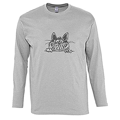 Hommes T-Shirts manches longues avec Crazy Grinning Cat Illustration imprimé.