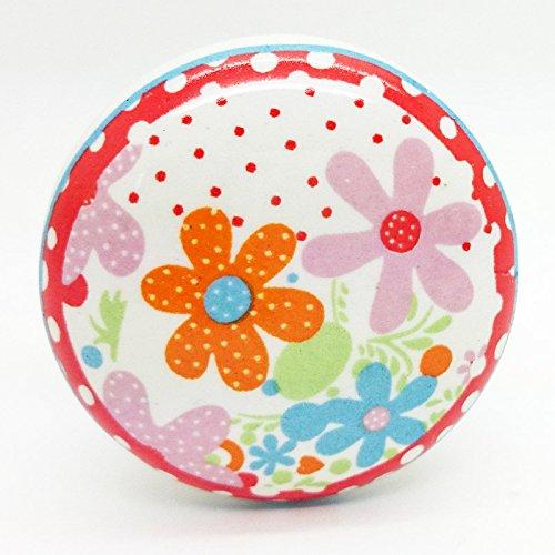 Fleurs Multicolores Poignée de porte en céramique vintage shabby chic Placard Tiroir Poignée de traction 4523