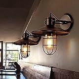 QQB Außenleuchte Retro Wandleuchte Gang Treppe Balkon Außenwand Hängen Lichter Restaurant Bar Wandleuchte Glasabdeckung Eisen Wandleuchte (Farbe : No Bulb)
