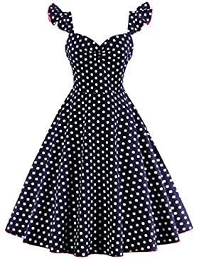 Moorui Donna Vintage Rockabilly Swing Vestito a Pois Vestiti da Cocktail