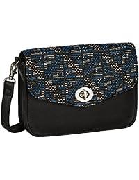 """SIX """"Basic"""" kleine schwarze Damen Handtasche Umhängetasche mit blau-weißem Ethno-Muster silberner Drehverschluss (463-037)"""
