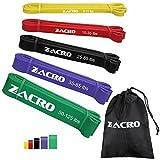 Zacro Fitnessbänder Widerstandsbänder 5 Stück unterschiedliche Resistance Bands Widerstandsband mit Bedienungsanleitung und Aufbewahrungstasche für Yoga,Pilate, Klimmzüge, Krafttraining