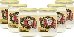 CocoPacific Raw Virgin Coconut Oil 500ml (Pack of 6 glass jars) Best quality affordable pure natural coconut oil in the UK.