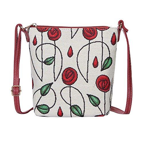 Signare Tapisserie femmes léger Sling Cross Sacoche Sac style Rennie Mackintosh Rouge roses (Sling-rmsp)