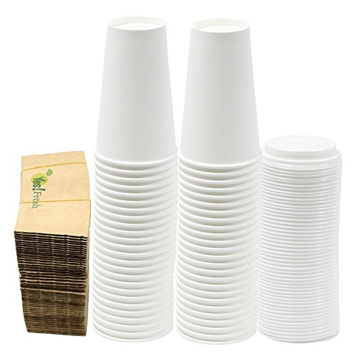 White Paper Cups (Durable White Paper Hot Coffee Cups with Cappuccino Lids and Protective Corrugated Cup Sleeves, Qty of 50 (16 Ounce) by Yes!fresh)