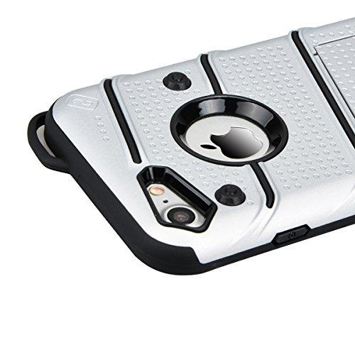 Case Cover Duplice Ibrido per iPhone 7 (4.7 pollici), HB-Int 3 in 1 Design PC + Silicone Grande Difensore Custodia Combo Duro Morbido Cases Covers [Completa Design & Anti-Graffio] - Massima Protezione Argento
