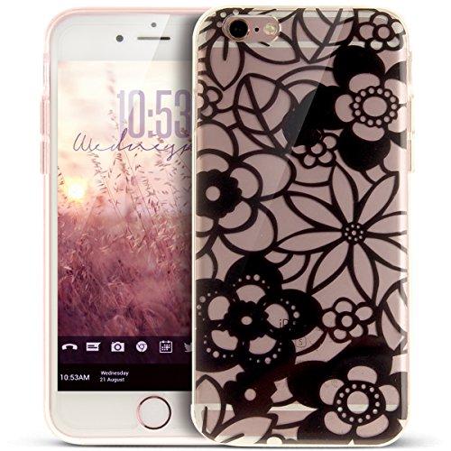 Coque iPhone 6S,Étui iPhone 6,iPhone 6S/iPhone 6 Case,ikasus® Coque iPhone 6S/iPhone 6 Silicone Étui Housse [Conception IMD et cadre en silicone TPU] Téléphone Couverture TPU Ultra Mince Premium Semi  Fleur de croquis