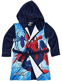 Spiderman Garçon Robe de chambre à capuche polaire, toucher doux - bleu marine